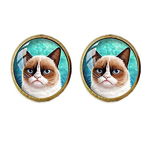 Handmade Glass Dome Earrings, Grumpy Cat
