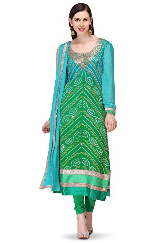 Utsav Fashion Bandhej Printed Pure Chinon Crepe Straight Cut Suit in Ombre Green