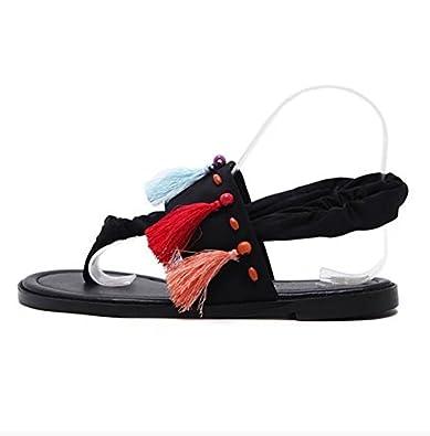 CXKS Damen Sandalen Mode Quaste Sommer Strand Schuhe Flache Sandalen, Flip Flop, Schwarz, 35
