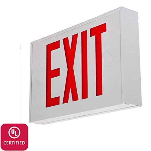 Steel Exit Sign - LFI Lights - UL Certified - Hardwired Red LED Steel Exit Light - Battery Backup Egress Sign - EXSTRW