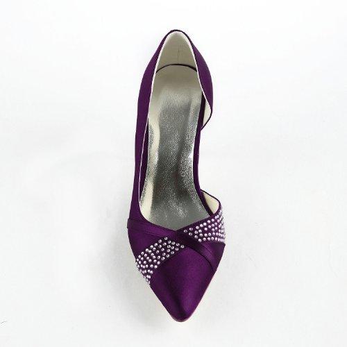 De Violet Mariage Talon Jia De A315 Satin Jia De Bas Fête Mariée Chaussures Pompes Bal Wommen Danse De Bout Fermé xd80qawaHF