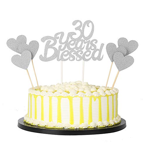 PALASASA 6pc Silver Love Star And Silver Single Sided Glitter 30 Years Blessed Cake Topper For Happy 30th Birthday - Wedding Anniversary Party Decorations Set of 7 (30th) ()