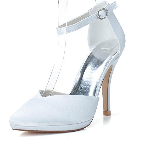 Scarpe Da Sposa Da Donna Elobaby L0255-22 Décolleté Da Sera Da Sera Slip On Eleganti Scarpe Eleganti In Raso Bianco