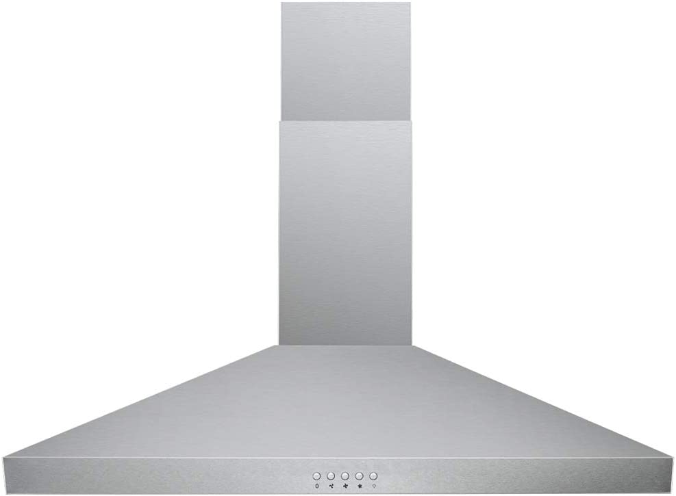 "DKB 30"" Range Hood Wall Mounted in Brushed Stainless Steel - With 400 CFM, 3 Speed Fan & Push Button Control Panel LED lights"