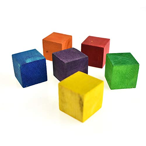 Homeford Multi-Colored Wooden Cube Blocks, 1-Inch, 6-Piece