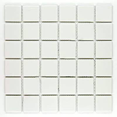 "Vogue Premium Quality 2"" White Porcelain Square Mosaic Tile Shiny Look Designed In Italy (12x12)"