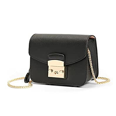 Actlure Genuine Cow Leather Metropolis Mini Shoulder Purese Crossbody Bag (Black)