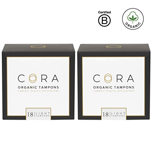 Cora Organic Cotton Tampons with BPA-Free Plastic Compact Applicator; Chlorine & Toxin Free - Light (36 Count)