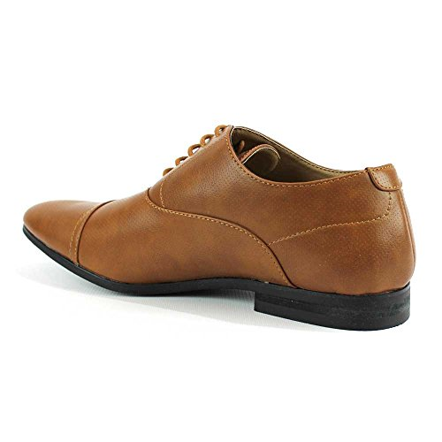 MAN Cognac Dress Modern Oxfords Mens AZAR Toe New Lace Formal Cap Up Shoes Dotted 6AwOUx
