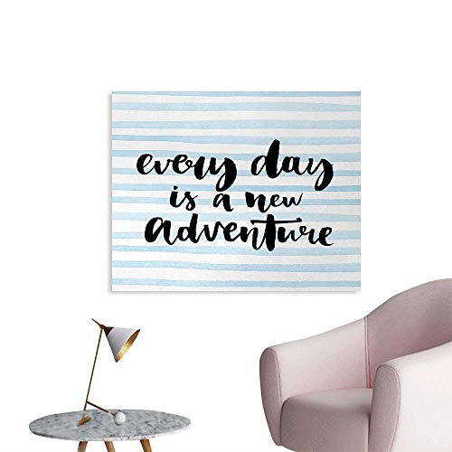 Stripe Wallpaper Light Blue (Tudouhoho Inspirational Quotes Custom Poster Every Day is a New Adventure Calligraphy Text Watercolor Stripes Print Wall Paper Light Blue W36 xL24)