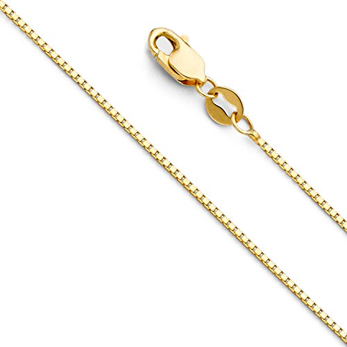 The World Jewelry Center 14k Yellow Gold Solid 0.9mm Box Link Chain Necklace with Lobster Claw Clasp - 18