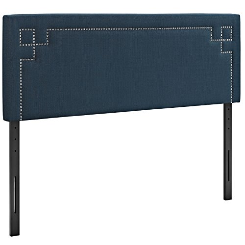 Full Size Traditional Bed (Modway Josie Upholstered Fabric Headboard Full Size With Nailhead Accents In Azure)