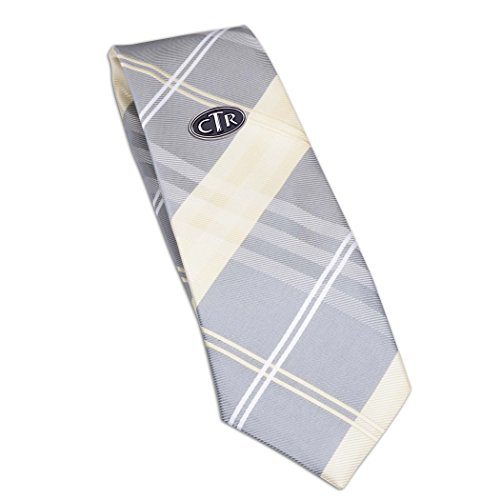 (Boys Yellow Plaid Tie with CTR Tie Pin for Baptism, 45-inch)