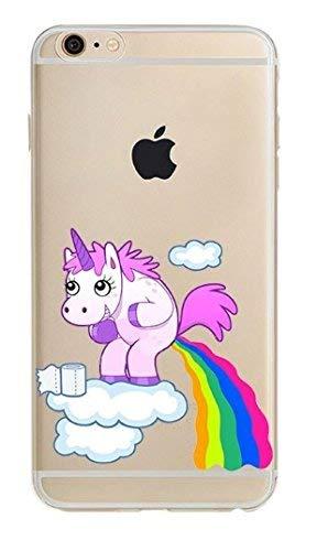 (iPhone 6 / 6s Compatible, Designer Choice Collection Colorful Flexible Ultra Slim Transparent Translucent iPhone Case Cover - Rainbow Color Unicorn Pee)