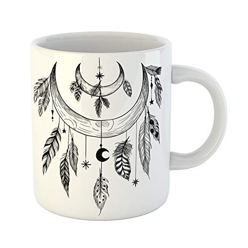 Emvency Coffee Tea Mug Gift 11 Ounces Funny Ceramic Tattoo Detailed Mystical Feathers Beads Moons Stars and Crystals Aztec Gifts For Family Friends Coworkers Boss - Rosary Beads Tattoo