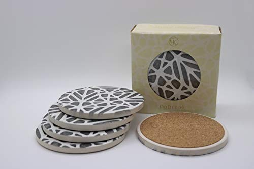 Coaster Set Of 6 - Home Decor Kitchen/Living Room Cup/Mug Holder - Table Top Furniture Absorbent Protection Water/Drinks/Coffee - Ceramic W/ No Scratch Cork Bottom - Wedding/Birthday/Party Coasters ()
