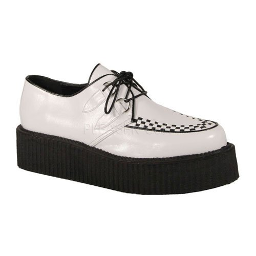 502 Demonia 43 creeper eu Wht Leather Uk Vegan V 10 Effqn6O