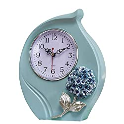 JOLLY Pewter Small and Cute Table Clock with Quartz Analog Crystal Rhinestone