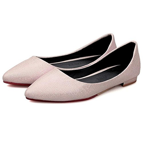 Women Slip Pink Shoes TAOFFEN Pumps flats Light On pfPxqz