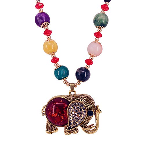 Beaded Elephant - QTMY Diamond Beaded Boho Pendant Long Necklace Jewelry for Women (Elephant) (Elephant)