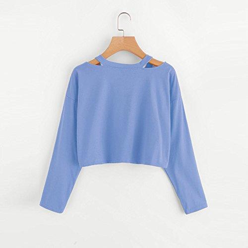 et Femme Col Couleur Chemise Shirt U Casual Solide Grande Longue Tee Blouse Taille Shirt Femme Blouses Tops Manche Blouse Bleu Femme Chemisiers Weant qcwxH8IZCc