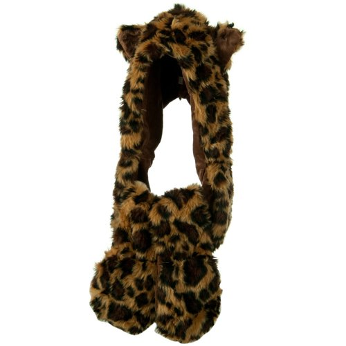 Furry Animal Hat with Paws - Leopard OSFM W05S30F