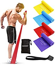 Oudort Resistance Bands Set, 4 Pack Exercise Bands Non-Latex with Door Anchor for Home Workout, Professional E