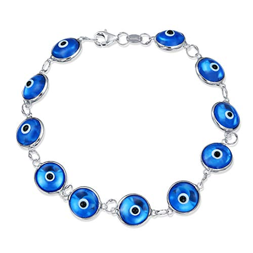Turkish Mutli Translucent Blue Evil Eye Glass Bead Bracelet For Women for Protection and Good Luck 925 Sterling Silver