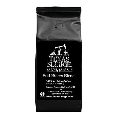 Texas Sludge Coffee - Bull Riders Blend Viennese Dark Roast Specialty Blend 100% Premium Arabica Beans - 1 Lb. (Whole Bean - Black Bag)