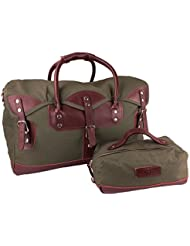 Viosi Balboa Leather Waxed Canvas Weekender Duffel Bag with Matching Toiletry Bag