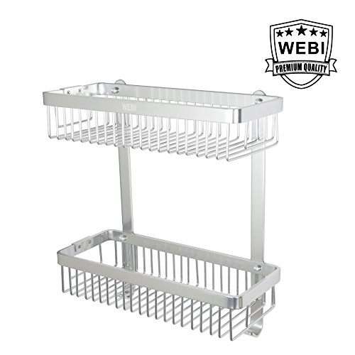 WEBI Double-deck Rectangular Storage Basket Wire Container Shower Caddy Shelf with Hook, Wall Mounted Hanging Organizer for Bathroom, Kitchen, Bedroom, Garage, Storage Room,Polished ()