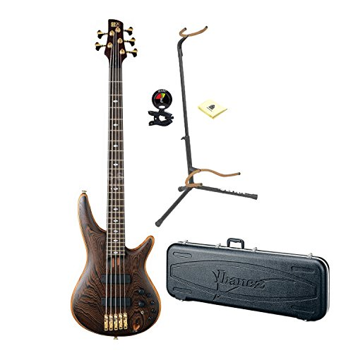 Ibanez Prestige SR5005 5-String Electric Bass Guitar in Natural Finish (Hardshell case included) With Ultra 2445BK Basic Guitar Stand, Snark SN5X Clip-On Tuner And Custom Designed Instrument Cloth