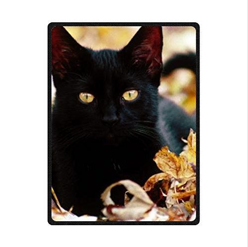 Best Seller Cat Pattern Design,Black Cat Custom Fleece Blanket 58 x 80 (Large) ()