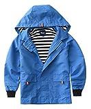 Hiheart Boys Waterproof Hooded Jackets Cotton Lined Rain Jackets Blue 6/7