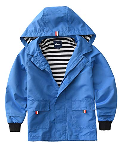 (Hiheart Boys Waterproof Hooded Jackets Cotton Lined Rain Jackets Blue 8/9)