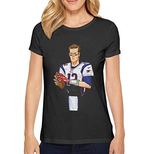 (Trum Namii Women's Short-Sleeve T-Shirt Tom-Brady-12-Name-Number- O-Neck Tee)