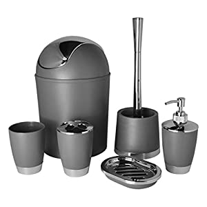 Bathlux Modern Design 6 Piece Bathroom Accessory Set, Toilet Brush, Waste Bin, Soap Dish, Tooth Brush Holder Soap Dispenser, Rinse Cup (Grey)