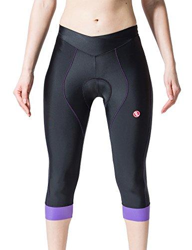 - sk Women's 3/4 Cycling Pants with 3D Multi Densities Foam Padded (Purple, S)