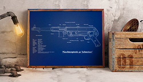 Upcrafts Studio Design WW2 Poster MP40 Submachine Gun - World War 2 German Weapons Collectibles Wall Decor - WWII Military History Gifts for Men 2019