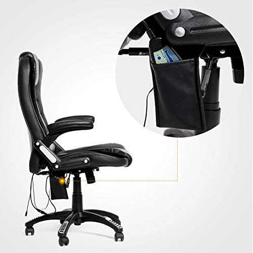 Mecor Heated Office Massage High-Back PU Leather Computer Chair w/360 Degree Adjustable Height & Armrest (Black) by Mecor (Image #4)