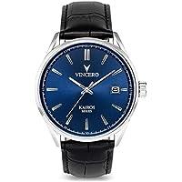 Vincero Luxury Men's Kairos Wrist Watch — Blue dial with Black Leather Watch Band — 42mm Analog Watch — Japanese Quartz Movement