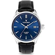 Vincero Luxury Men's Kairos Wrist Watch — Blue dial with Black Leather Watch Band — 42mm Analog...