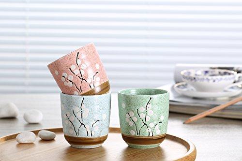 Flower Pot Ceramic Square Small Indoor Flowers Plants Pots Decorative Green/ Pink/ Blue Modern Plum Blossom Pattern succulent Plant Pot/Cactus Plant Pot Flower Pot (3PCS (Ceramic Pots Wholesale)