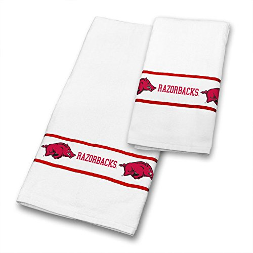 Arkansas Razorbacks COMBO Shower Curtain, 4 Pc Towel Set & 1 Window Valance - Decorate your Bathroom & SAVE ON BUNDLING! by Sports Coverage