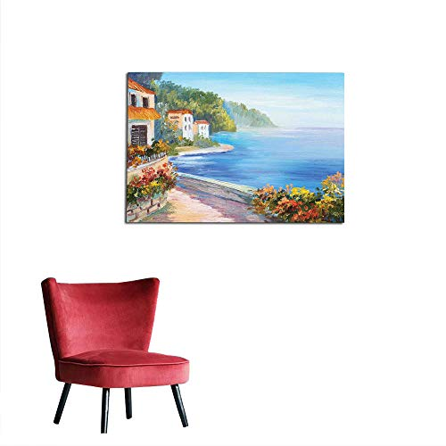 kungfu Decoration Wallpaper Seascape,House and Colorful Flowers Seascape in The Summer Oil Painting Style,Pale Blue Orange Ivory Cool Poster W23.6 x -