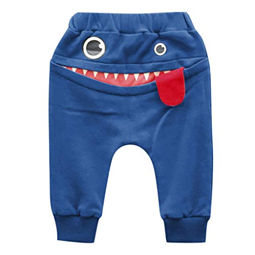 Cartoon Shark Baby 2PC Outfits Set,Children Kids Boys Girls Cartoon Shark Tongue Harem Pants Trousers Pants Blue -