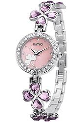 KIMIO K456L Ladies Quartz Bracelet Wristwatch Lucky Grass Flower Diamond Wrist Watch Daily Stainless Steel Pink