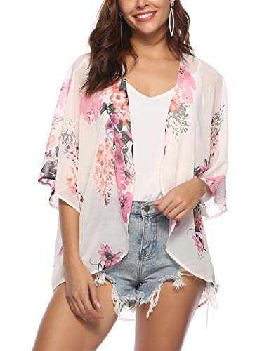 - BB&KK Women Floral Kimono Cardigan Loose Half Sleeve Shawl Chiffon Casual Open Front Cover up Large
