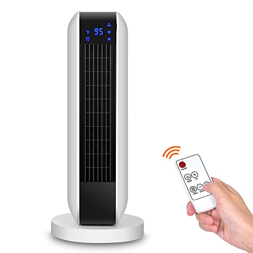 Ceramic Tower Heater - Digital Ceramic Heater 7.1x7.1x16.9 INCH with Remote Control, 1500W Portable Oscillating Heater with Overheating & Tip-Over Protection, Adjustable Thermostat & 8H Timer Ceramic Heaters KONWIN
