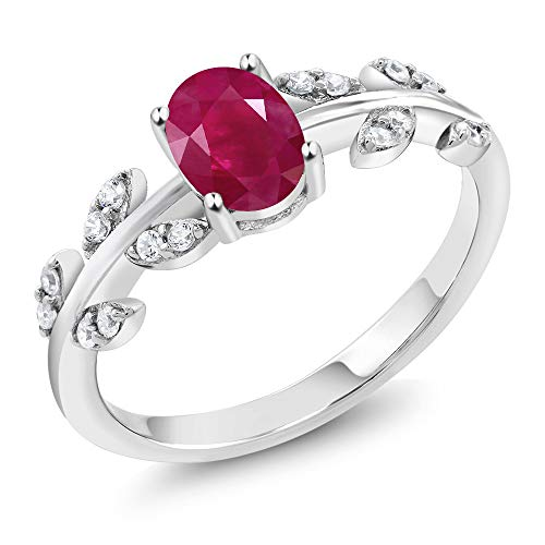 Gem Stone King Red Ruby & White Diamond 10K White Gold Olive Vine Ring 1.13 Ct Oval (Size 7)